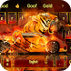 Roar fire tiger car keyboard theme by cool theme and wallpapers