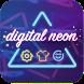 Digital Neon Typewriter by Panda Keyboard Theme