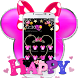 Pink Black Micky Bow Glitter Theme by Fabulous Theme Wallpapers
