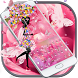 Pink Rose Water Drops Keyboard by Theme Lovely