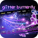 Dream Blue Purple glitter Butterfly Keyboard Theme by cool theme and wallpapers