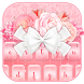 Charming Pink Roses Bow Keyboard Theme by ChickenAnt Themes