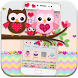 Pink Lovely Owl Cartoon Theme by Fabulous Theme Wallpapers