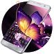 Vivid purple neon butterfly keyboard by Bestheme Keyboard Designer 3D &HD