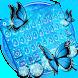 Blue Glitter Butterfly Keyboard Theme by cool wallpaper