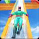 Real Water Slide Superhero Amusement Park Stunts by microclip