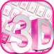 3D Pink White Keyboard by Keyboard Theme Factory