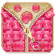 Salmon Pinky Zipper Keyboard Theme by stylish android themes
