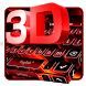 3D Black Red Keyboard by Pretty Cool Keyboard Theme