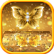 Shining Gold Butterfly Keyboard by Input theme