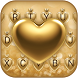 Gold Sheen Hearts Keyboard Theme by Pink Theme Designer