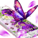 Purple Flowers Butterfly Diamond Theme by Christina_Liang