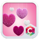 Fluffy diamond Hearts Theme: Pink Comics Launcher by Best theme workshop