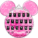Pink Cute Minny Bowknot Keyboard Theme by Creative Design Theme