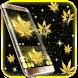 Golden Weed Rasta Shiny Keyboard Theme by Maddy Manjrekar