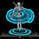 Gun Robot Neon Tech Hologram by Android Theme Studio