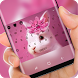 White Cute Bunny Keyboard Pink Flower Theme by Super Hot Themes Design Studio