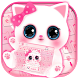 Pink Cute Kitty Keyboard Theme by Fantasy Keyboard studio