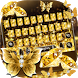 Gold Butterfly Keyboard Theme by cool wallpaper