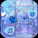 Blue diamond necklace sparkling love theme