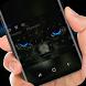 Black Cat Keyboard Stare Blue Eye by Super Hot Themes Design Studio