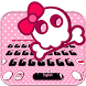Pink skull Keyboard theme by Locker Themes Center