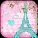Diamond Eiffel Tower Pink Paris Keyboard by ChickenAnt Themes