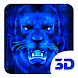 3d Blue Neon Lion Theme