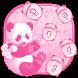 Pink Fluffy Panda Keyboard Theme by cool wallpaper