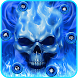 Neon Blue Skull Theme by Cool Theme Love