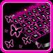 Pink Neon Butterfly Keyboard by Cool Theme Studio