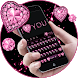 Pink Heart Diamond Keyboard by Echo Keyboard Theme