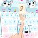 Cartoon blue cute kitty emoji theme keyboard by Cool Theme Creator