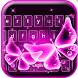 Pink Neon Butterfly Keyboard by Luxury Keyboard Theme